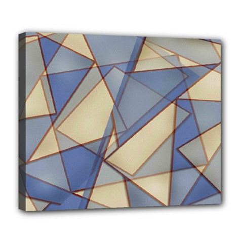 Blue And Tan Triangles Intertwine Together To Create An Abstract Background Deluxe Canvas 24  x 20
