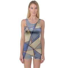 Blue And Tan Triangles Intertwine Together To Create An Abstract Background One Piece Boyleg Swimsuit