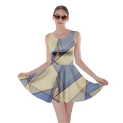 Blue And Tan Triangles Intertwine Together To Create An Abstract Background Skater Dress