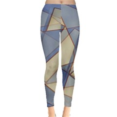 Blue And Tan Triangles Intertwine Together To Create An Abstract Background Leggings