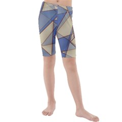 Blue And Tan Triangles Intertwine Together To Create An Abstract Background Kids  Mid Length Swim Shorts