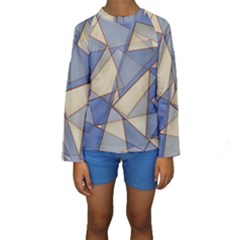 Blue And Tan Triangles Intertwine Together To Create An Abstract Background Kids  Long Sleeve Swimwear