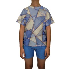 Blue And Tan Triangles Intertwine Together To Create An Abstract Background Kids  Short Sleeve Swimwear