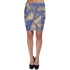 Blue And Tan Triangles Intertwine Together To Create An Abstract Background Bodycon Skirt