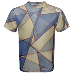 Blue And Tan Triangles Intertwine Together To Create An Abstract Background Men s Cotton Tee
