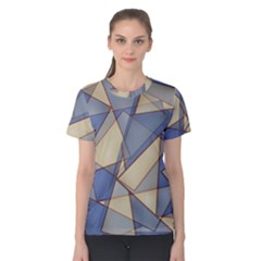 Blue And Tan Triangles Intertwine Together To Create An Abstract Background Women s Cotton Tee