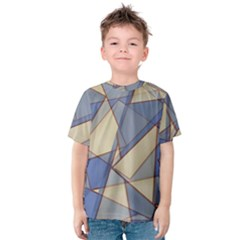 Blue And Tan Triangles Intertwine Together To Create An Abstract Background Kids  Cotton Tee