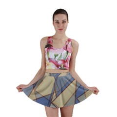 Blue And Tan Triangles Intertwine Together To Create An Abstract Background Mini Skirt