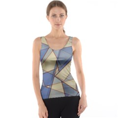 Blue And Tan Triangles Intertwine Together To Create An Abstract Background Tank Top