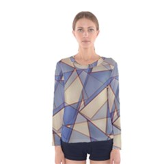 Blue And Tan Triangles Intertwine Together To Create An Abstract Background Women s Long Sleeve Tee