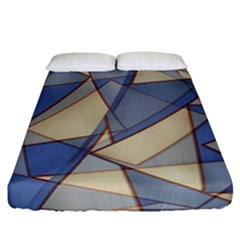 Blue And Tan Triangles Intertwine Together To Create An Abstract Background Fitted Sheet (california King Size)