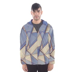 Blue And Tan Triangles Intertwine Together To Create An Abstract Background Hooded Wind Breaker (Men)