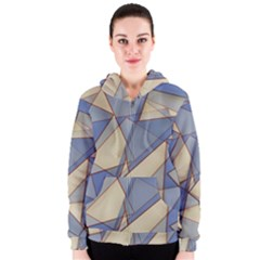 Blue And Tan Triangles Intertwine Together To Create An Abstract Background Women s Zipper Hoodie