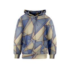 Blue And Tan Triangles Intertwine Together To Create An Abstract Background Kids  Zipper Hoodie