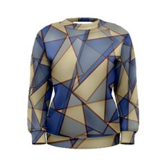Blue And Tan Triangles Intertwine Together To Create An Abstract Background Women s Sweatshirt