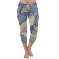 Blue And Tan Triangles Intertwine Together To Create An Abstract Background Capri Winter Leggings