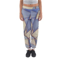 Blue And Tan Triangles Intertwine Together To Create An Abstract Background Women s Jogger Sweatpants