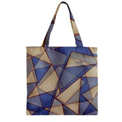 Blue And Tan Triangles Intertwine Together To Create An Abstract Background Zipper Grocery Tote Bag