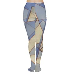 Blue And Tan Triangles Intertwine Together To Create An Abstract Background Women s Tights