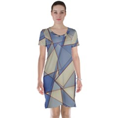 Blue And Tan Triangles Intertwine Together To Create An Abstract Background Short Sleeve Nightdress
