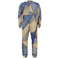 Blue And Tan Triangles Intertwine Together To Create An Abstract Background OnePiece Jumpsuit (Men)