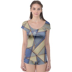 Blue And Tan Triangles Intertwine Together To Create An Abstract Background Boyleg Leotard