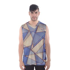 Blue And Tan Triangles Intertwine Together To Create An Abstract Background Men s Basketball Tank Top