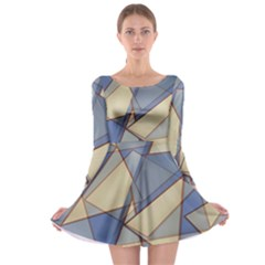 Blue And Tan Triangles Intertwine Together To Create An Abstract Background Long Sleeve Skater Dress