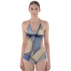 Blue And Tan Triangles Intertwine Together To Create An Abstract Background Cut-Out One Piece Swimsuit