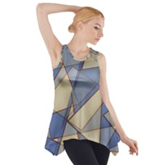 Blue And Tan Triangles Intertwine Together To Create An Abstract Background Side Drop Tank Tunic