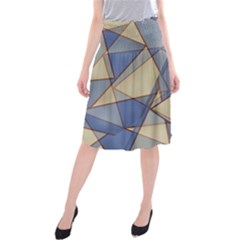Blue And Tan Triangles Intertwine Together To Create An Abstract Background Midi Beach Skirt