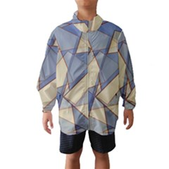 Blue And Tan Triangles Intertwine Together To Create An Abstract Background Wind Breaker (kids)