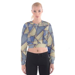 Blue And Tan Triangles Intertwine Together To Create An Abstract Background Women s Cropped Sweatshirt