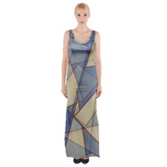 Blue And Tan Triangles Intertwine Together To Create An Abstract Background Maxi Thigh Split Dress