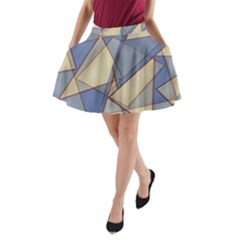 Blue And Tan Triangles Intertwine Together To Create An Abstract Background A Line Pocket Skirt