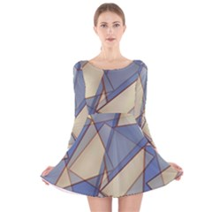Blue And Tan Triangles Intertwine Together To Create An Abstract Background Long Sleeve Velvet Skater Dress