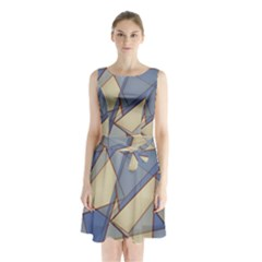Blue And Tan Triangles Intertwine Together To Create An Abstract Background Sleeveless Chiffon Waist Tie Dress