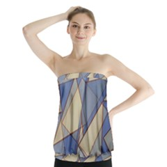 Blue And Tan Triangles Intertwine Together To Create An Abstract Background Strapless Top