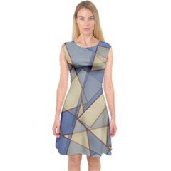 Blue And Tan Triangles Intertwine Together To Create An Abstract Background Capsleeve Midi Dress
