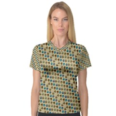 Abstract Seamless Pattern Women s V Neck Sport Mesh Tee