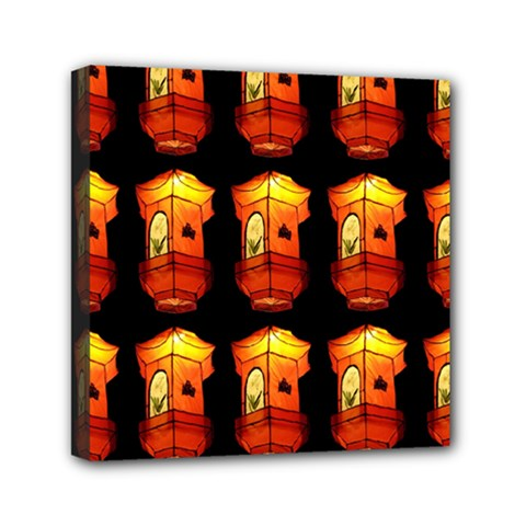 Paper Lanterns Pattern Background In Fiery Orange With A Black Background Mini Canvas 6  X 6