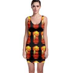 Paper Lanterns Pattern Background In Fiery Orange With A Black Background Sleeveless Bodycon Dress