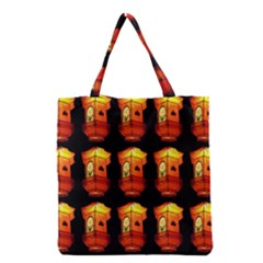 Paper Lanterns Pattern Background In Fiery Orange With A Black Background Grocery Tote Bag