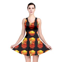Paper Lanterns Pattern Background In Fiery Orange With A Black Background Reversible Skater Dress