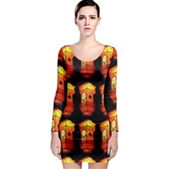 Paper Lanterns Pattern Background In Fiery Orange With A Black Background Long Sleeve Bodycon Dress