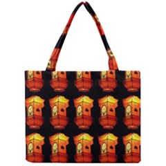 Paper Lanterns Pattern Background In Fiery Orange With A Black Background Mini Tote Bag