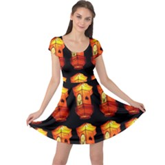 Paper Lanterns Pattern Background In Fiery Orange With A Black Background Cap Sleeve Dresses