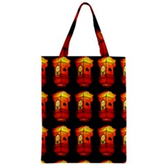 Paper Lanterns Pattern Background In Fiery Orange With A Black Background Zipper Classic Tote Bag