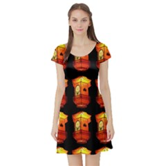 Paper Lanterns Pattern Background In Fiery Orange With A Black Background Short Sleeve Skater Dress