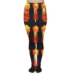 Paper Lanterns Pattern Background In Fiery Orange With A Black Background Women s Tights